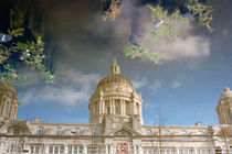 Port of Liverpool building reflected  by illu