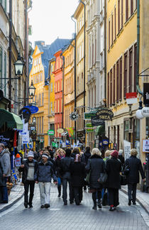 Street in Gamla Stan, the old part of Stockholm, Sweden by David Hill
