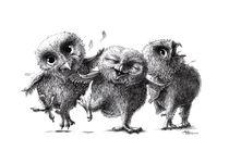 Crazy - Happy - Owls von Stefan Kahlhammer