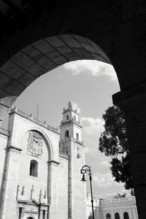 MERIDA CATHEDRAL BLACK AND WHITE Mexico by John Mitchell