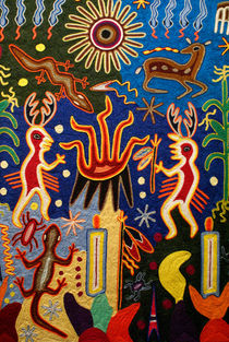 Huichol Yarn Painting Mexico von John Mitchell