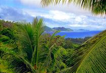 Blick von der Seychelleninsel La Digue nach Praslin von Manfred Koch