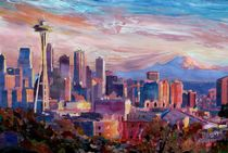 Seattle Skyline mit Space Needle und Mt Rainier by M.  Bleichner