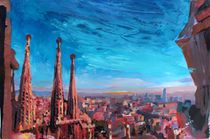 Barcelona Stadtansicht mit Sagrada Familia by M.  Bleichner