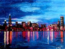 Chicago Skyline at night by M.  Bleichner