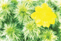 full-blown yellow flower and green branches, artwork in painting style by Serhii Zhukovskyi