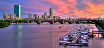 Boston Skyline Sunset -  Panoramic by Joann  Vitali