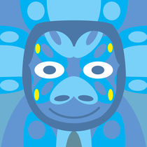 Animal Mask Pattern in Blue Geometry von Charles Harker