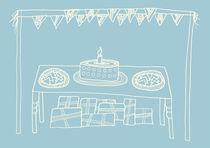 Happy Birthday Table on Blue by Tasha Goddard