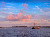 Three Masted Schooner at Anchor by Louise Heusinkveld