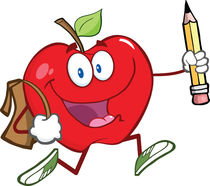 Apple With School Bag And Pencil Goes To School by hittoon