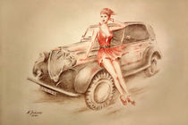Girls und Oldtimer - Retro Malerei by Marita Zacharias