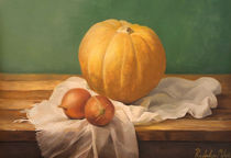Still life painting with a pumpkin by Milos Radulov