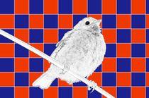 Besser der Spatz an der Wand als die Taube auf dem Dach rot/blau - A bird on the wall is worth two in the bush red/blue von mateart