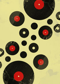 Vintage Vinyl Records Retro Grunge by Denis Marsili