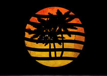 Palm Trees Grunge Sunset Artwork by Denis Marsili