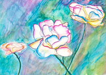 3 Rainbow White Roses by Christine Chase Cooper