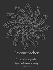 Dreamcatcher Mandala Poster - White on Grey, w/Msg von themandalalady