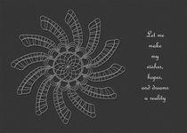 Dreamcatcher Mandala Card - White on Grey w/Msg von themandalalady