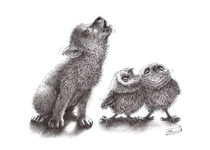 howling wolf meets howling owls by Stefan Kahlhammer