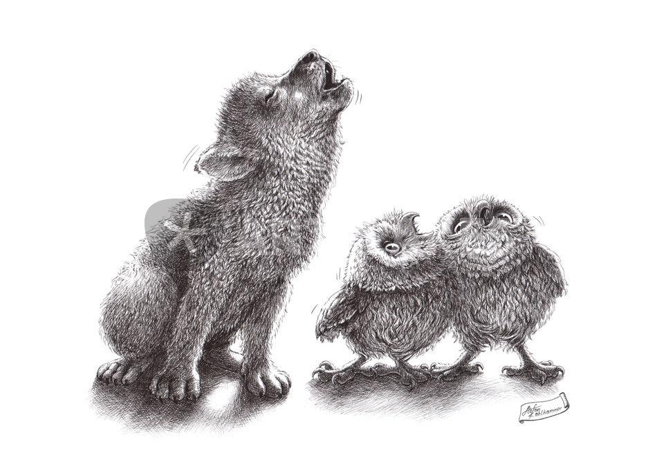 """""""howling wolf meets howling owls"""" Zeichnung als Poster und ..."""