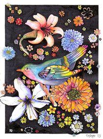 bunter Vogel und Blüten by Hildegard Maria Endner