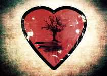 Love Nature - Grunge Tree and Heart - Earth Friendly  by Denis Marsili