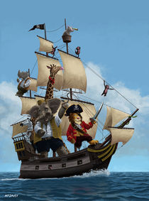 Cartoon Animal Pirate Ship by Martin  Davey