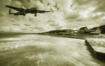 Lancaster over Omaha Beach  by Rob Hawkins