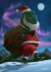 Dinosaur Christmas Santa out in the snow von Martin  Davey
