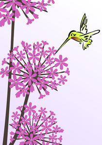 Hummingbird and Allium by Anastasiya Malakhova