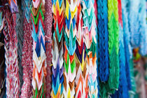 Close up of colorful origami offerings von holka