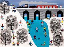 Snowmen on the bridge by Gordon Barker