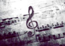 Music! Treble clef with Grunge Vintage Texture by Denis Marsili