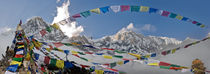 Prayer flags fly, Annapurna South Base Camp, Nepal by Tom Dempsey