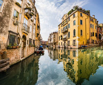 Venice canal yellow reflection, Italy, Europe von Tom Dempsey