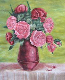 Roses in vase by Vlatka Kelc
