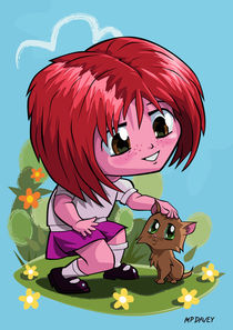 little_cartoon_manga_girl_stroking_pet_cat von Martin  Davey