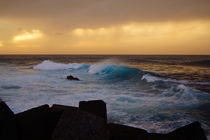 Abendbrandung, surf in the light of sunset by Sabine Radtke