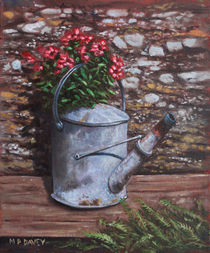 Old watering can with flowers by stone wall by Martin  Davey