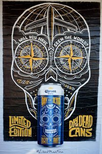 Mexican Beer Cans Poster Blue von John Mitchell