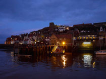 Whitby Lower Harbour and the RNLI Lifeboat Station at Night by Louise Heusinkveld