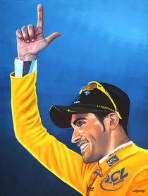 Alberto Contador painting by Paul Meijering