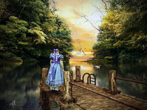 Mädchen auf dem Steg  - Girl on the bridge - by Wolfgang Pfensig