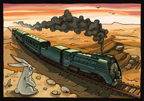 Steam Locomotive and Rabbit by Oleksiy Tsuper