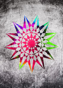 Colorful Trippy Star with Grunge Background von Denis Marsili