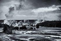 Geyser Basin in Black and White by Ken Dvorak