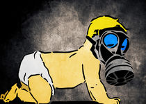 A Bright Future: Your children will pay the price - Baby with Gas Mask by Denis Marsili