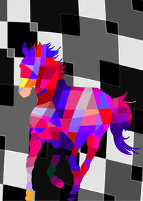Colorful Horse Vector - Cool Colors and Background by Denis Marsili