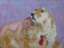 Baby auf Hund by Jutta Wegener